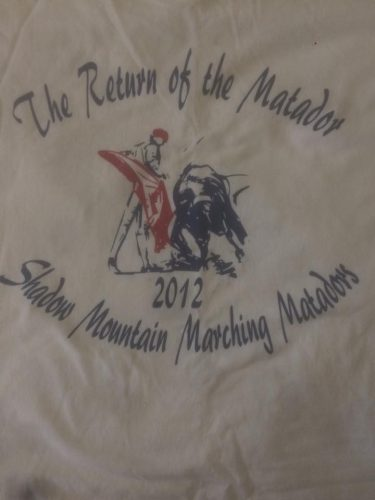 Return of the Matador Field Show Shirt 2012 SMHS Marching Band